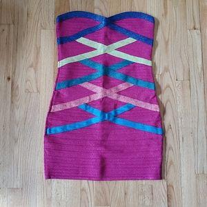 Pink Metallic multi color Strapless Mini Dress